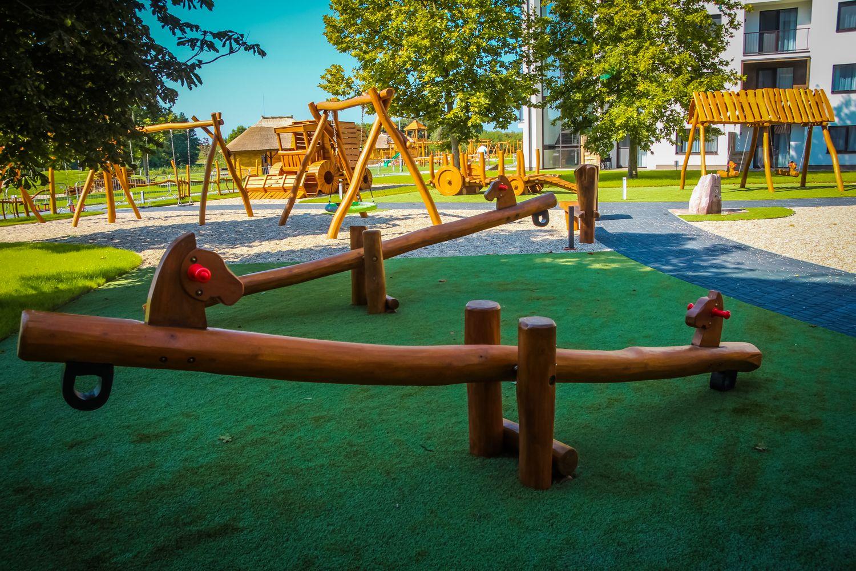 Prevažovacie hojdačky váhadlové hojdačky s koňmi - Hracie prvky na detské ihrisko