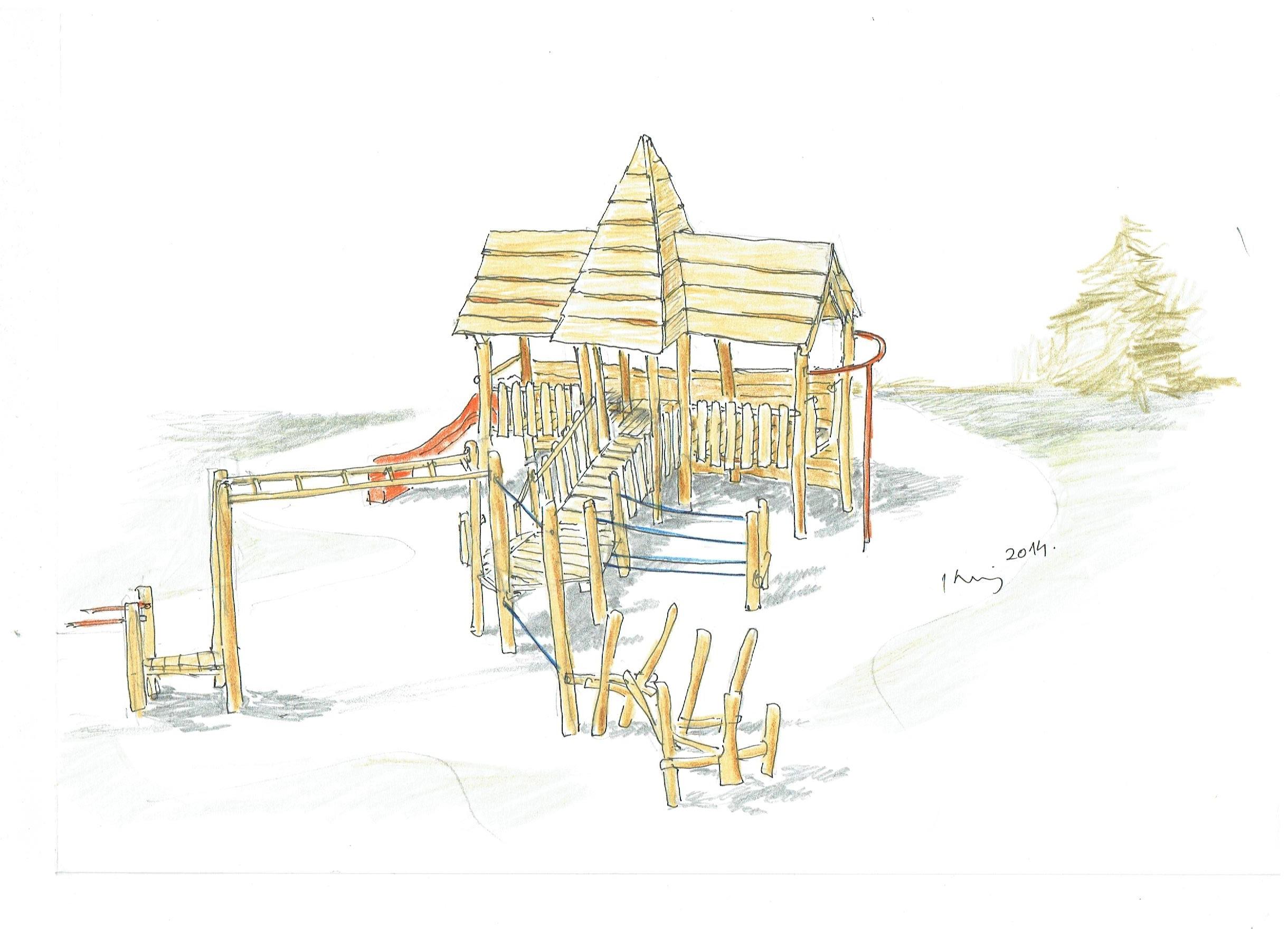Detské ihrisko Trojveža I so sústavou guliačových a lanových preliezačiek