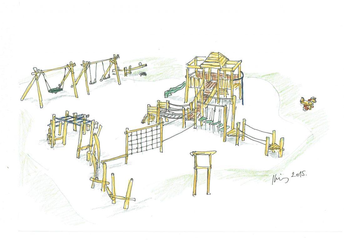 Detské ihrisko Trojveža II so sústavou guliačových, reťazových a lanových preliezačiek