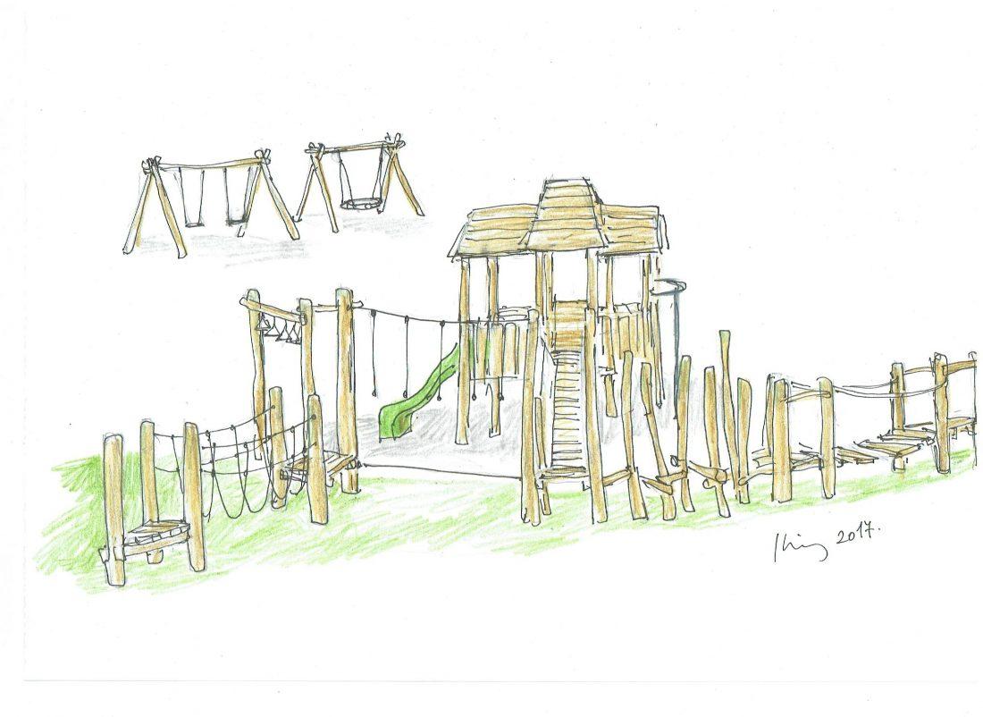 Detské ihrisko Trojveža III so sústavou guliačových a lanových preliezačiek